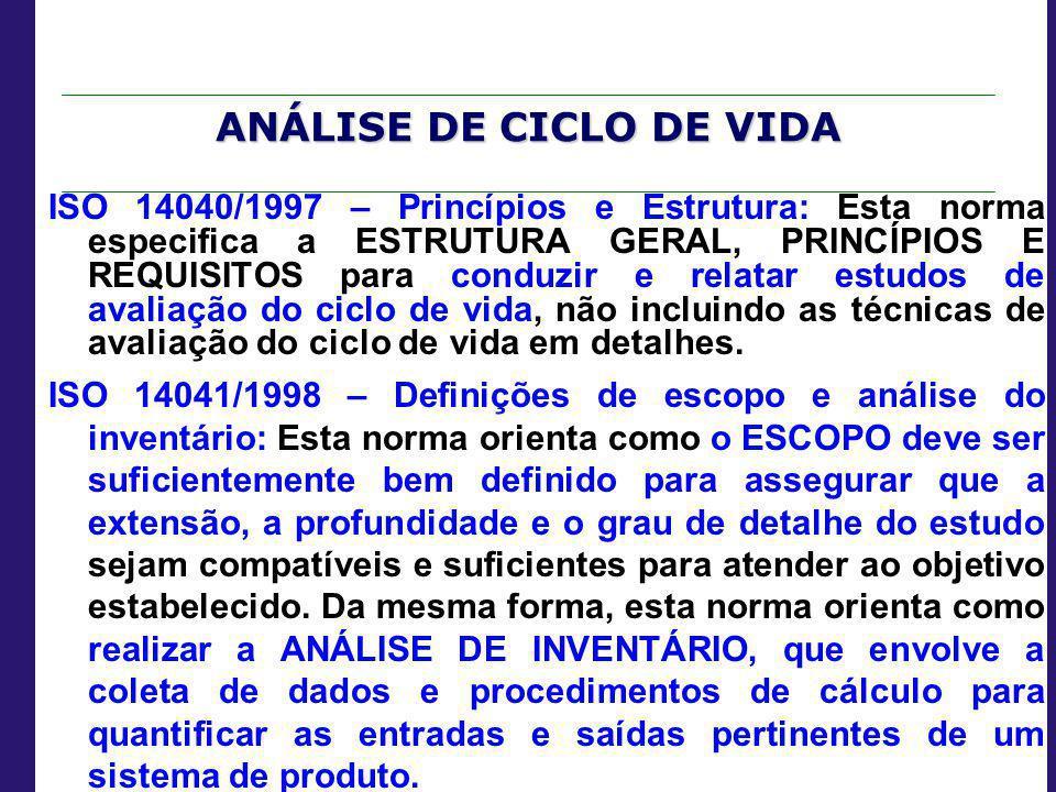 ANÁLISE DE CICLO DE VIDA ISO 14040/1997 – Princípios e Estrutura: Esta norma especifica a ESTRUTURA GERAL, PRINCÍPIOS E REQUISITOS para conduzir e rel