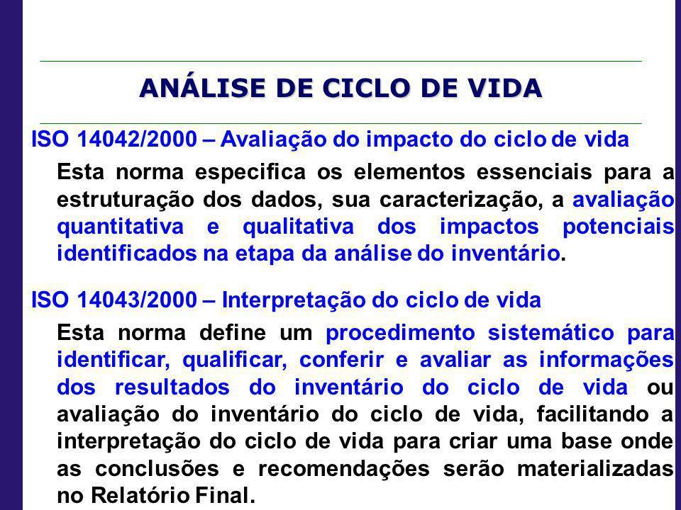 ANÁLISE DE CICLO DE VIDA ISO 14042/2000 – Avaliação do impacto do ciclo de vida Esta norma especifica os elementos essenciais para a estruturação dos