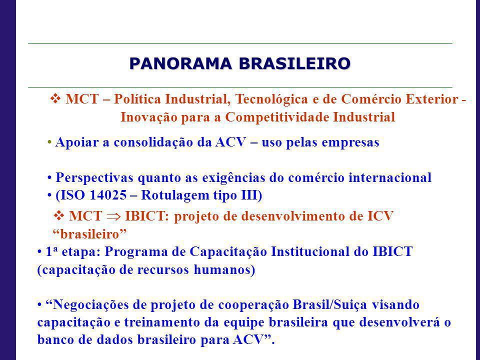 PANORAMA BRASILEIRO  MCT – Política Industrial, Tecnológica e de Comércio Exterior - Inovação para a Competitividade Industrial Apoiar a consolidação