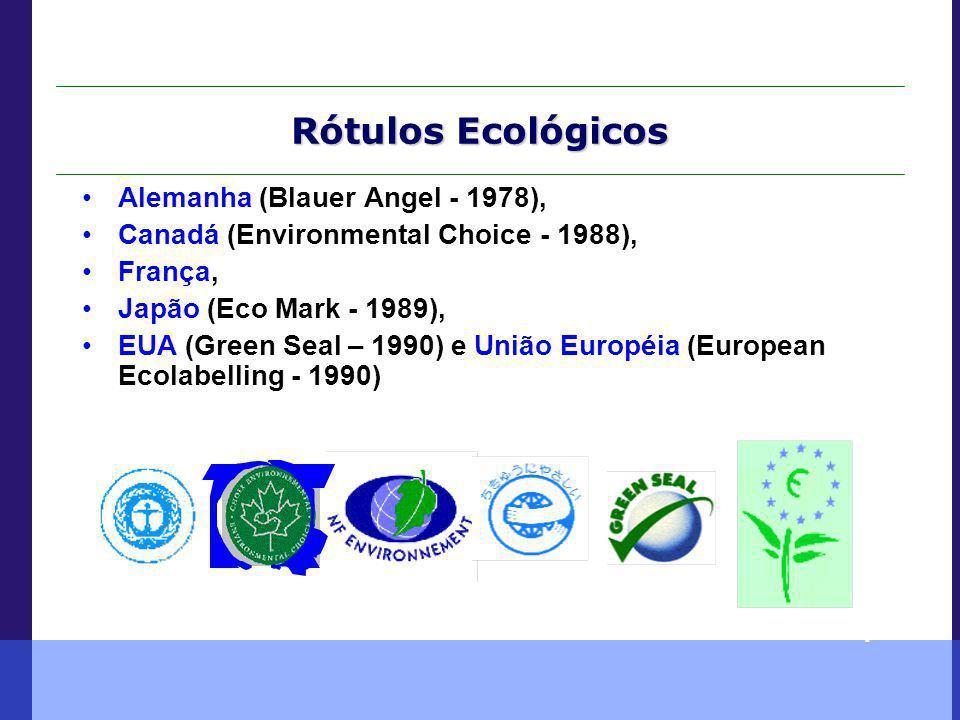 Rótulos Ecológicos União Européia JapãoE.U.AFrançaAlemanhaCanadá Alemanha (Blauer Angel - 1978), Canadá (Environmental Choice - 1988), França, Japão (