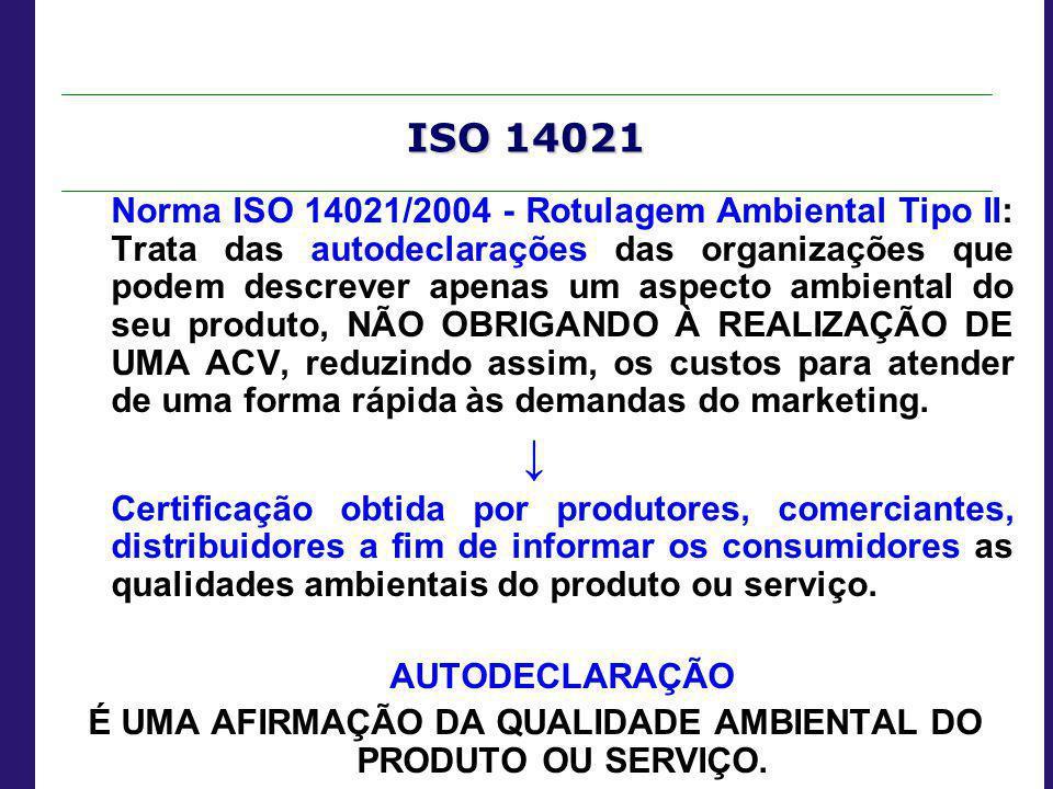 ISO 14021 Norma ISO 14021/2004 - Rotulagem Ambiental Tipo II: Trata das autodeclarações das organizações que podem descrever apenas um aspecto ambient