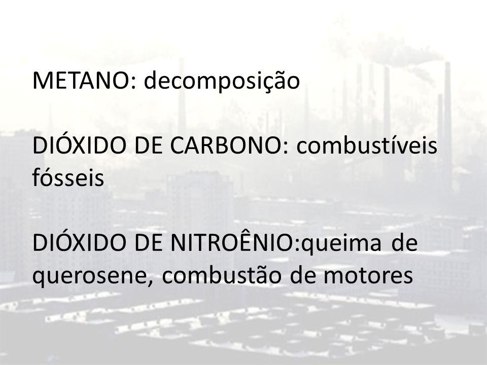 METANO: decomposição DIÓXIDO DE CARBONO: combustíveis fósseis DIÓXIDO DE NITROÊNIO:queima de querosene, combustão de motores