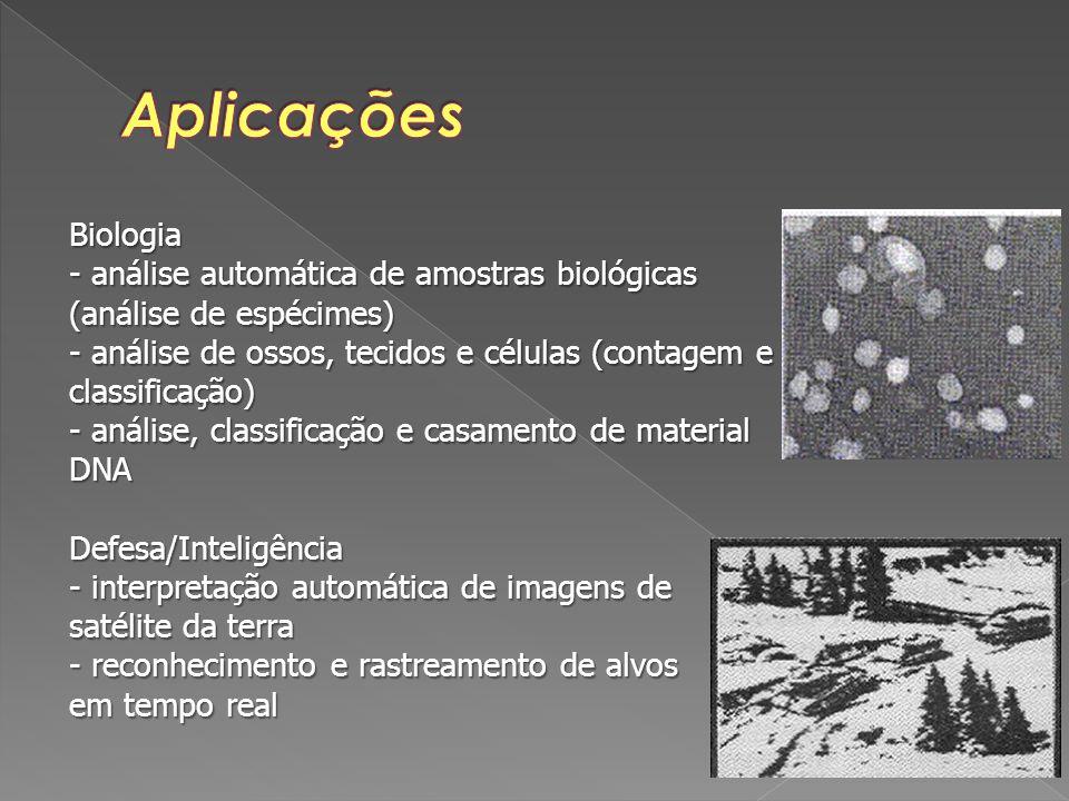 Biologia - análise automática de amostras biológicas (análise de espécimes) - análise de ossos, tecidos e células (contagem e classificação) - análise