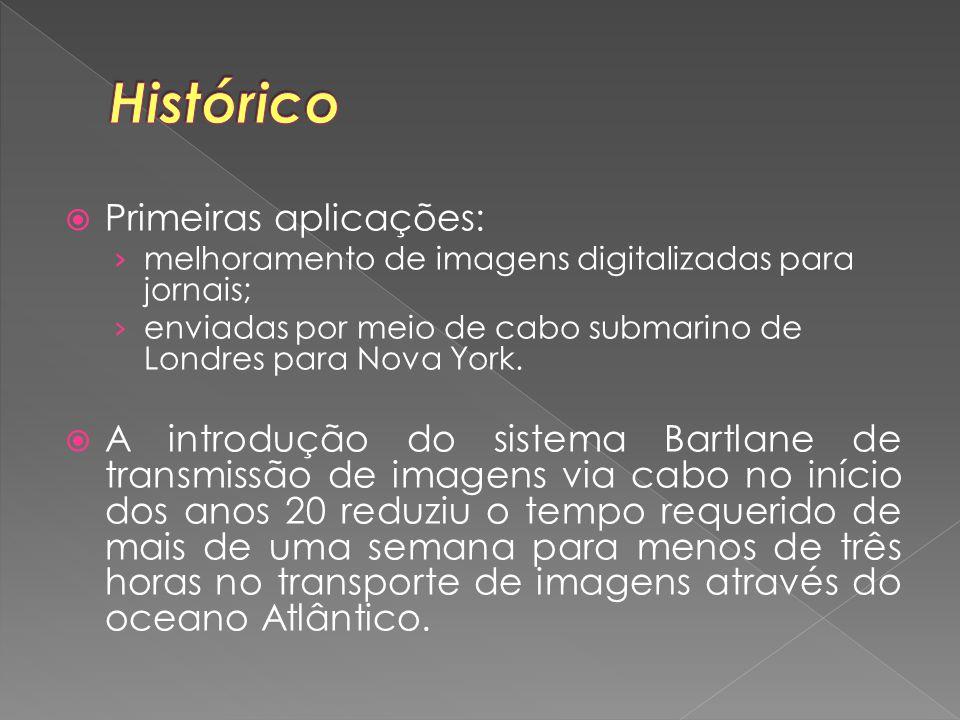  Primeiras aplicações: › melhoramento de imagens digitalizadas para jornais; › enviadas por meio de cabo submarino de Londres para Nova York.  A int