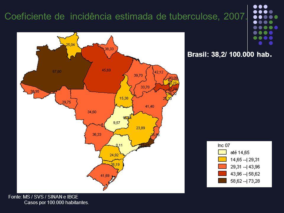 Brasil: 38,2/ 100.000 hab. Fonte: MS / SVS / SINAN e IBGE Casos por 100.000 habitantes. Coeficiente de incidência estimada de tuberculose, 2007.