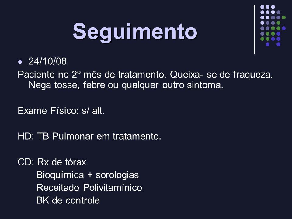 Seguimento 24/10/08 Paciente no 2º mês de tratamento. Queixa- se de fraqueza. Nega tosse, febre ou qualquer outro sintoma. Exame Físico: s/ alt. HD: T