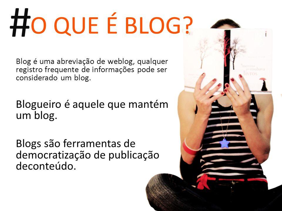 Blog é uma abreviação de weblog, qualquer registro frequente de informações pode ser considerado um blog. Blogueiro é aquele que mantém um blog. Blogs