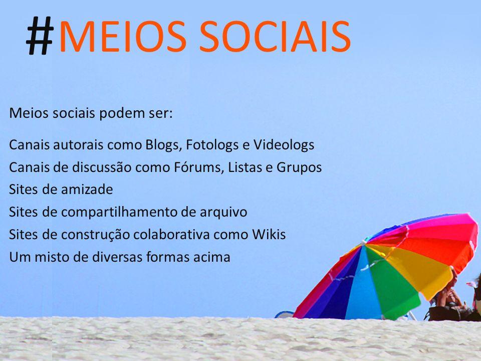# MEIOS SOCIAIS Meios sociais podem ser: Canais autorais como Blogs, Fotologs e Videologs Canais de discussão como Fórums, Listas e Grupos Sites de am