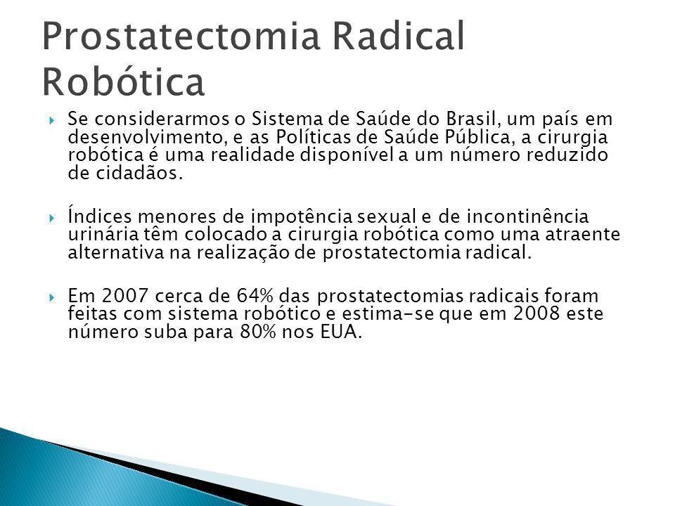  Se considerarmos o Sistema de Saúde do Brasil, um país em desenvolvimento, e as Políticas de Saúde Pública, a cirurgia robótica é uma realidade disp