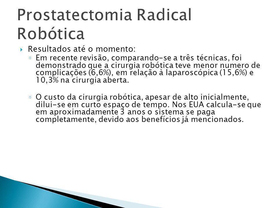 Prostatectomia Radical Robótica  Resultados até o momento: ◦ Em recente revisão, comparando-se a três técnicas, foi demonstrado que a cirurgia robóti