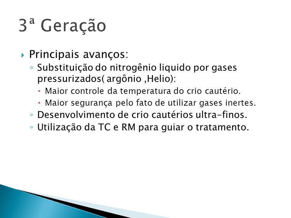  Principais avanços: ◦ Substituição do nitrogênio liquido por gases pressurizados( argônio,Helio):  Maior controle da temperatura do crio cautério.