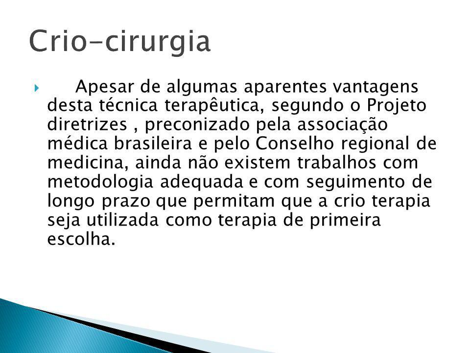 Apesar de algumas aparentes vantagens desta técnica terapêutica, segundo o Projeto diretrizes, preconizado pela associação médica brasileira e pelo