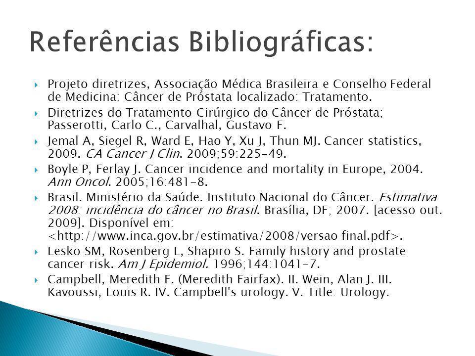  Projeto diretrizes, Associação Médica Brasileira e Conselho Federal de Medicina: Câncer de Próstata localizado: Tratamento.  Diretrizes do Tratamen