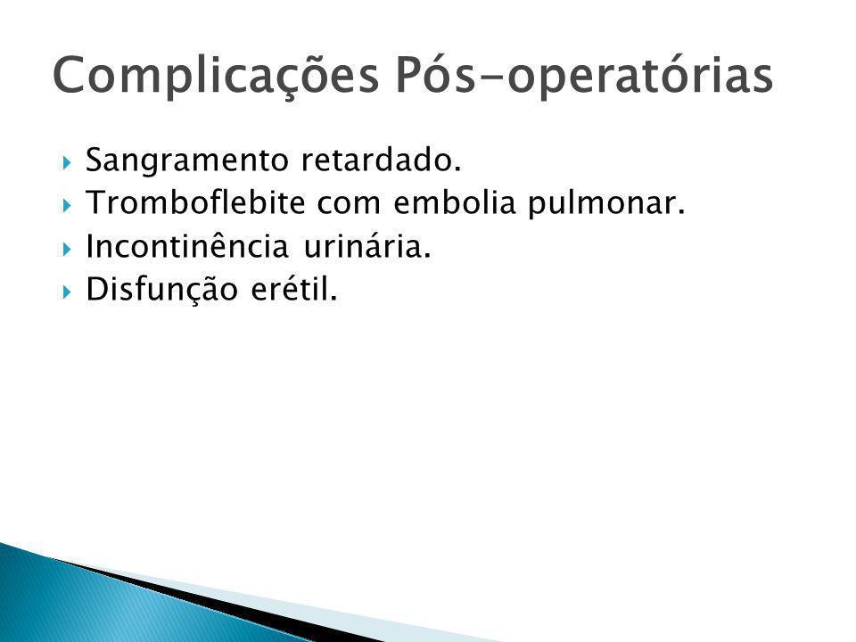 Prostatectomia Radical Robótica  Resultados até o momento: ◦ Em recente revisão, comparando-se a três técnicas, foi demonstrado que a cirurgia robótica teve menor numero de complicações (6,6%), em relação à laparoscópica (15,6%) e 10,3% na cirurgia aberta.