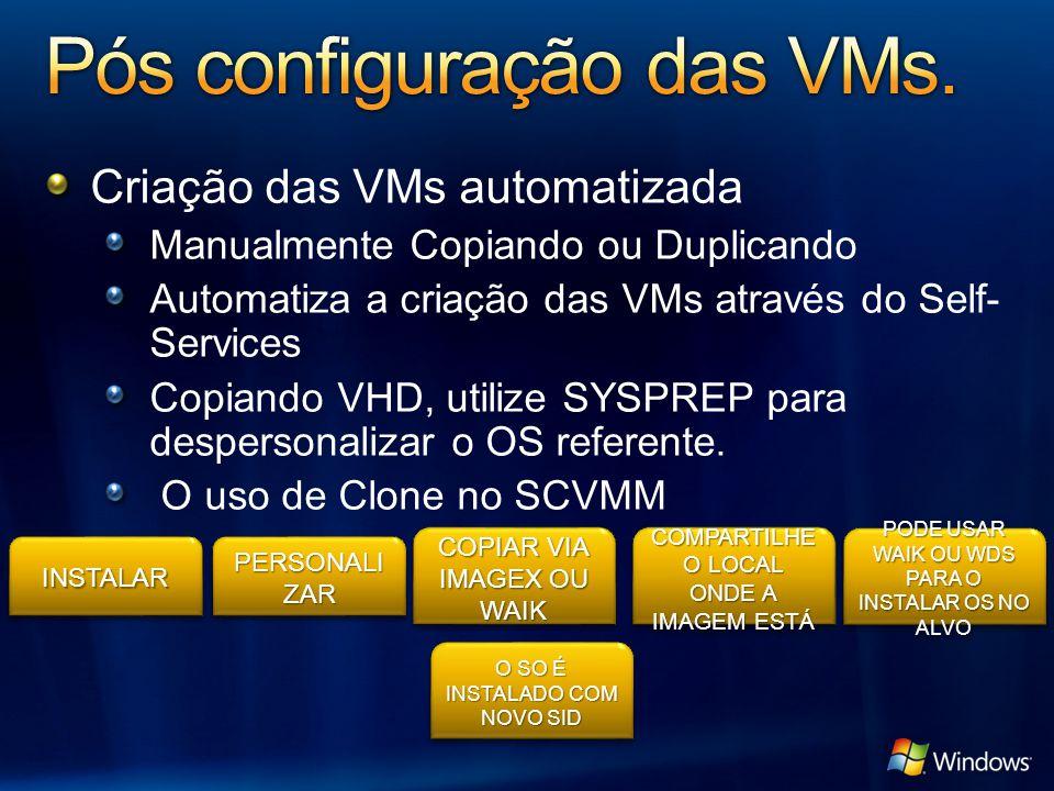 Criação das VMs automatizada Manualmente Copiando ou Duplicando Automatiza a criação das VMs através do Self- Services Copiando VHD, utilize SYSPREP para despersonalizar o OS referente.
