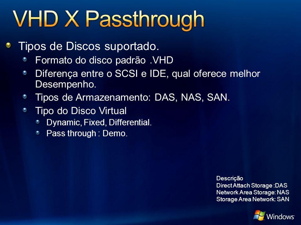 Tipos de Discos suportado. Formato do disco padrão.VHD Diferença entre o SCSI e IDE, qual oferece melhor Desempenho. Tipos de Armazenamento: DAS, NAS,