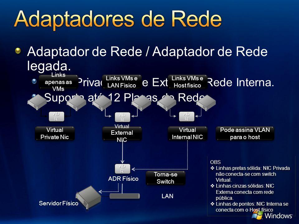 Adaptador de Rede / Adaptador de Rede legada. Rede Privada, Rede Externa e Rede Interna. Suporta até 12 Placas de Rede Pode assina VLAN para o host Li