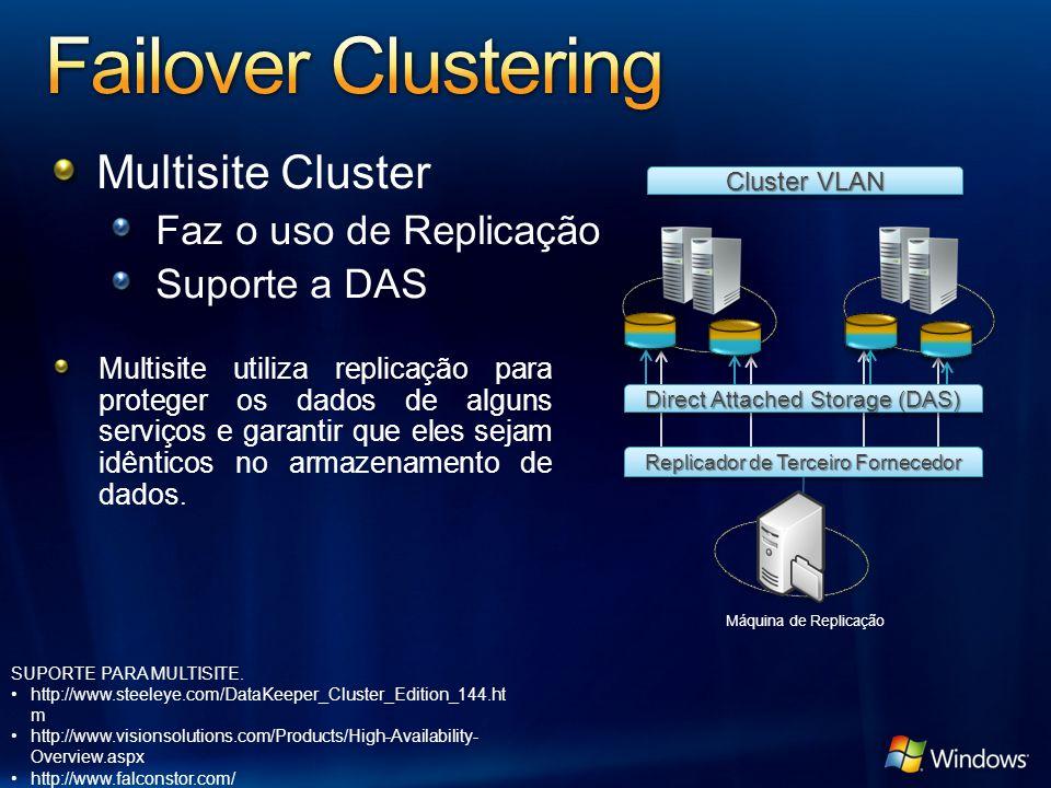 Replicador de Terceiro Fornecedor Multisite Cluster Faz o uso de Replicação Suporte a DAS Cluster VLAN Direct Attached Storage (DAS) Multisite utiliza replicação para proteger os dados de alguns serviços e garantir que eles sejam idênticos no armazenamento de dados.