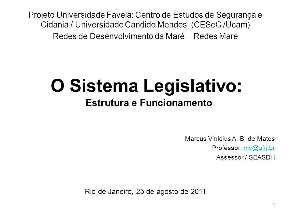 1 O Sistema Legislativo: Projeto Universidade Favela: Centro de Estudos de Segurança e Cidania / Universidade Candido Mendes (CESeC /Ucam) Redes de De