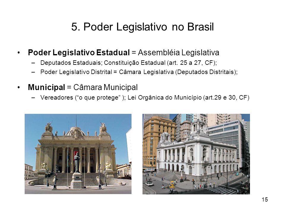 5. Poder Legislativo no Brasil Poder Legislativo Estadual = Assembléia Legislativa –Deputados Estaduais; Constituição Estadual (art. 25 a 27, CF); –Po