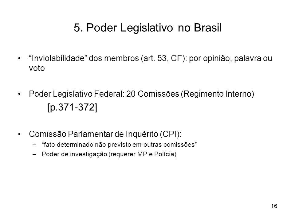"""5. Poder Legislativo no Brasil """"Inviolabilidade"""" dos membros (art. 53, CF): por opinião, palavra ou voto Poder Legislativo Federal: 20 Comissões (Regi"""
