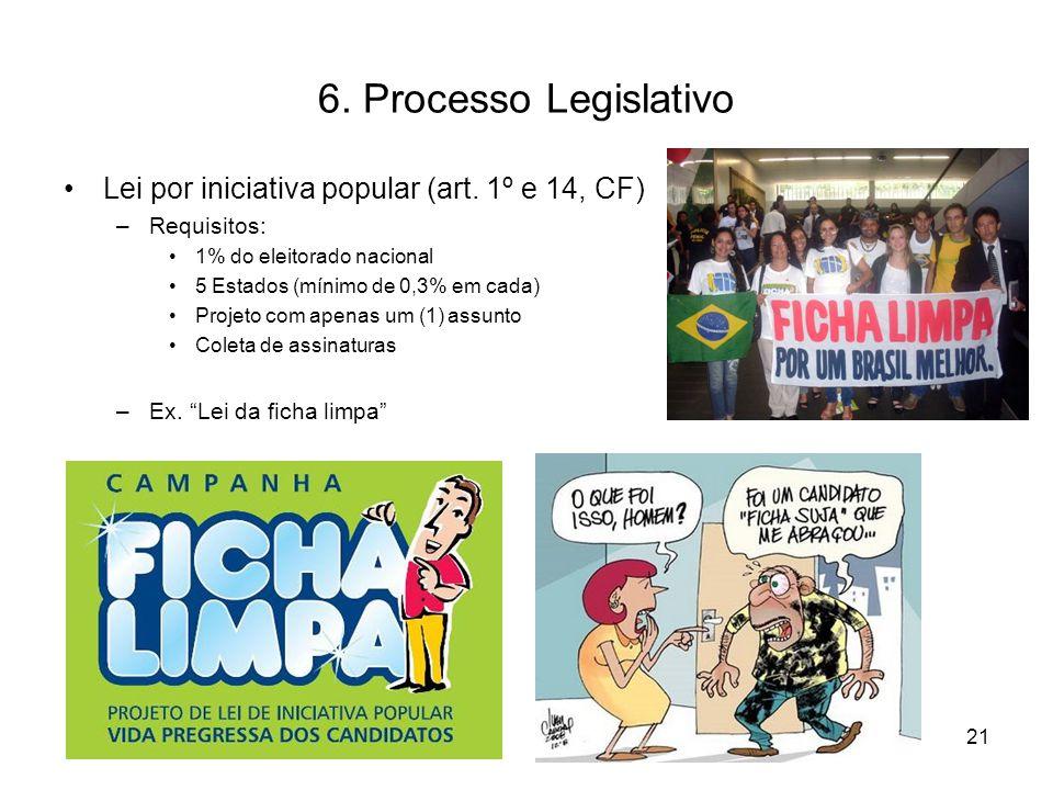 6. Processo Legislativo Lei por iniciativa popular (art. 1º e 14, CF) –Requisitos: 1% do eleitorado nacional 5 Estados (mínimo de 0,3% em cada) Projet