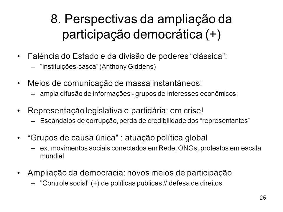"""8. Perspectivas da ampliação da participação democrática (+) Falência do Estado e da divisão de poderes """"clássica"""": –""""instituições-casca"""" (Anthony Gid"""
