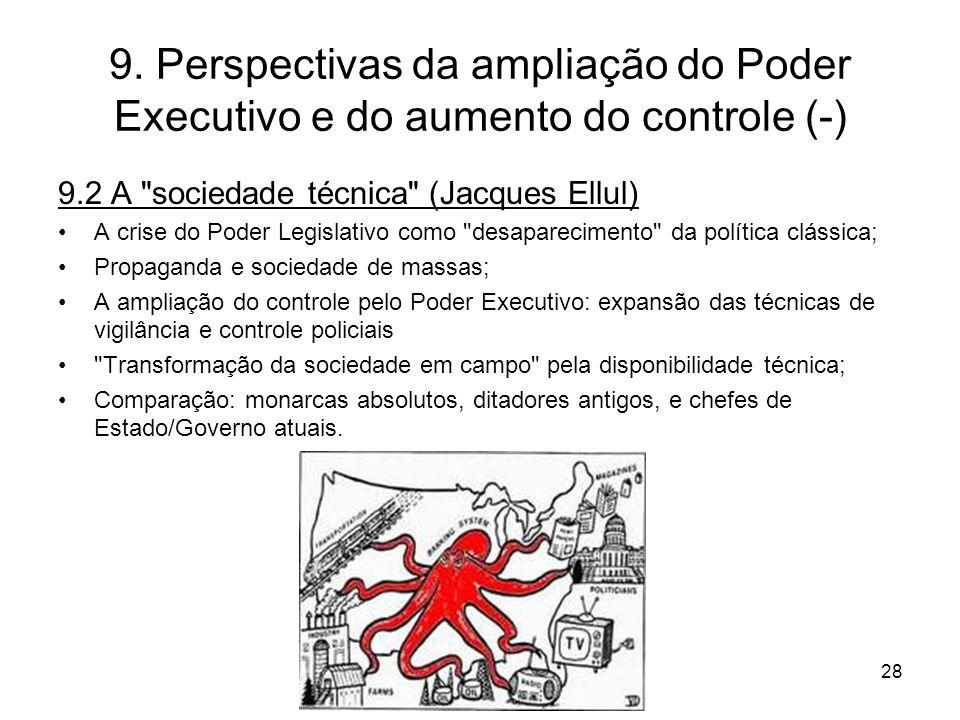 9. Perspectivas da ampliação do Poder Executivo e do aumento do controle (-) 9.2 A