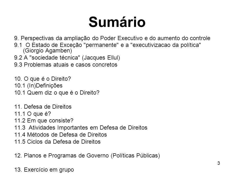 Sumário 9. Perspectivas da ampliação do Poder Executivo e do aumento do controle 9.1 O Estado de Exceção