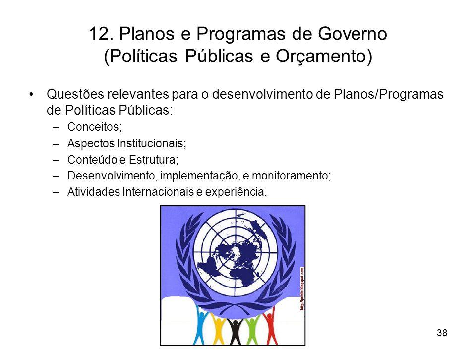 12. Planos e Programas de Governo (Políticas Públicas e Orçamento) Questões relevantes para o desenvolvimento de Planos/Programas de Políticas Pública