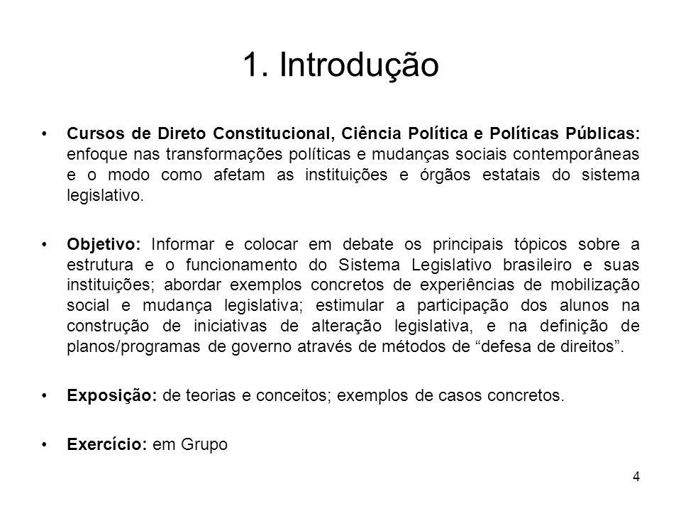 4 1. Introdução Cursos de Direto Constitucional, Ciência Política e Políticas Públicas: enfoque nas transformações políticas e mudanças sociais contem