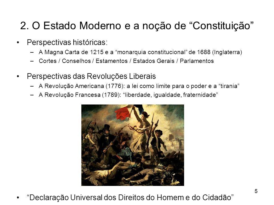 """2. O Estado Moderno e a noção de """"Constituição"""" Perspectivas históricas: –A Magna Carta de 1215 e a """"monarquia constitucional"""" de 1688 (Inglaterra) –C"""