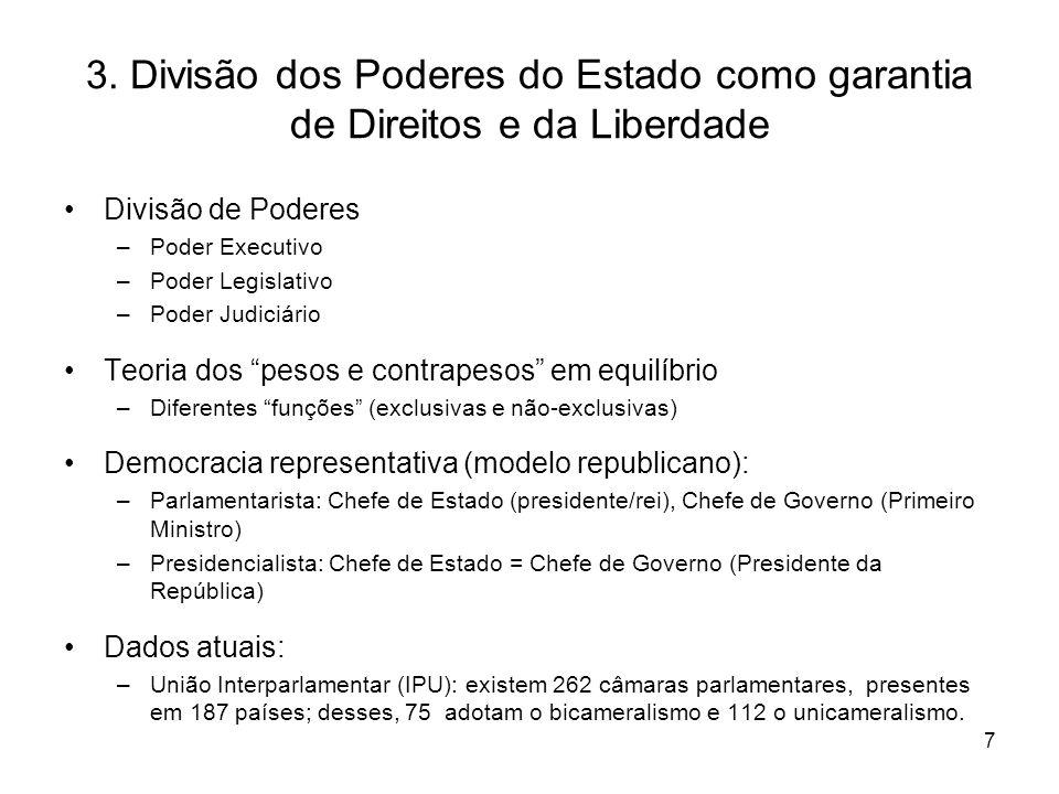 7 3. D ivisão dos Poderes do Estado como garantia de Direitos e da Liberdade Divisão de Poderes –Poder Executivo –Poder Legislativo –Poder Judiciário