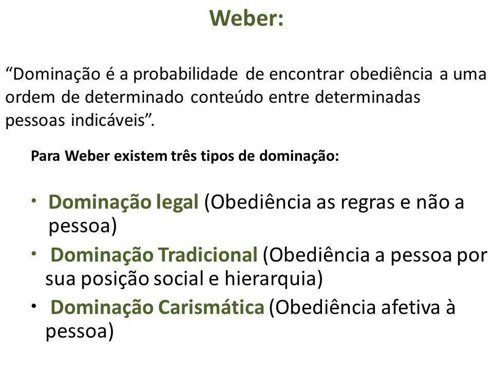 """Weber: """"Dominação é a probabilidade de encontrar obediência a uma ordem de determinado conteúdo entre determinadas pessoas indicáveis"""". Para Weber exi"""