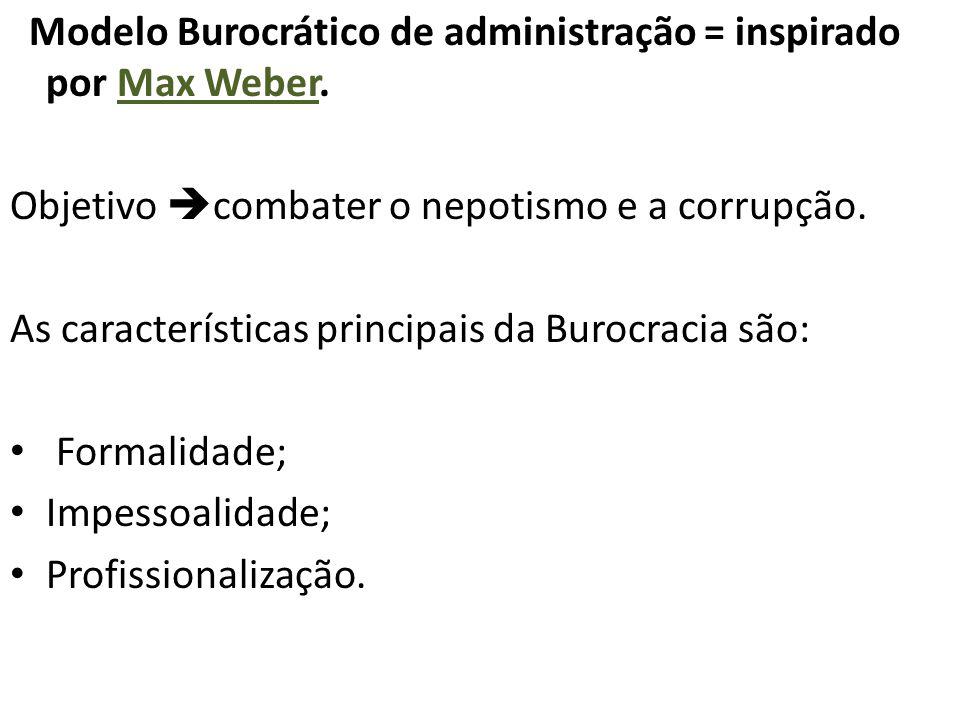 Modelo Burocrático de administração = inspirado por Max Weber. Objetivo  combater o nepotismo e a corrupção. As características principais da Burocra