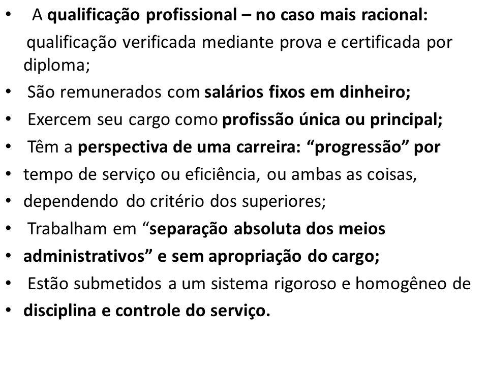 A qualificação profissional – no caso mais racional: qualificação verificada mediante prova e certificada por diploma; São remunerados com salários fi