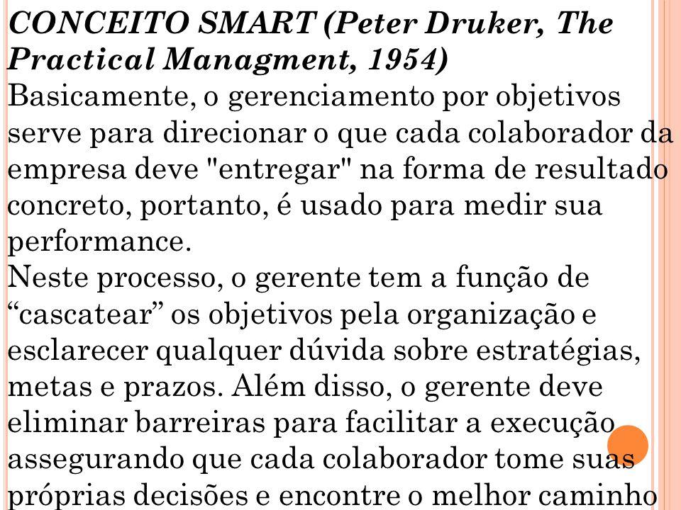 CONCEITO SMART (Peter Druker, The Practical Managment, 1954) Basicamente, o gerenciamento por objetivos serve para direcionar o que cada colaborador d