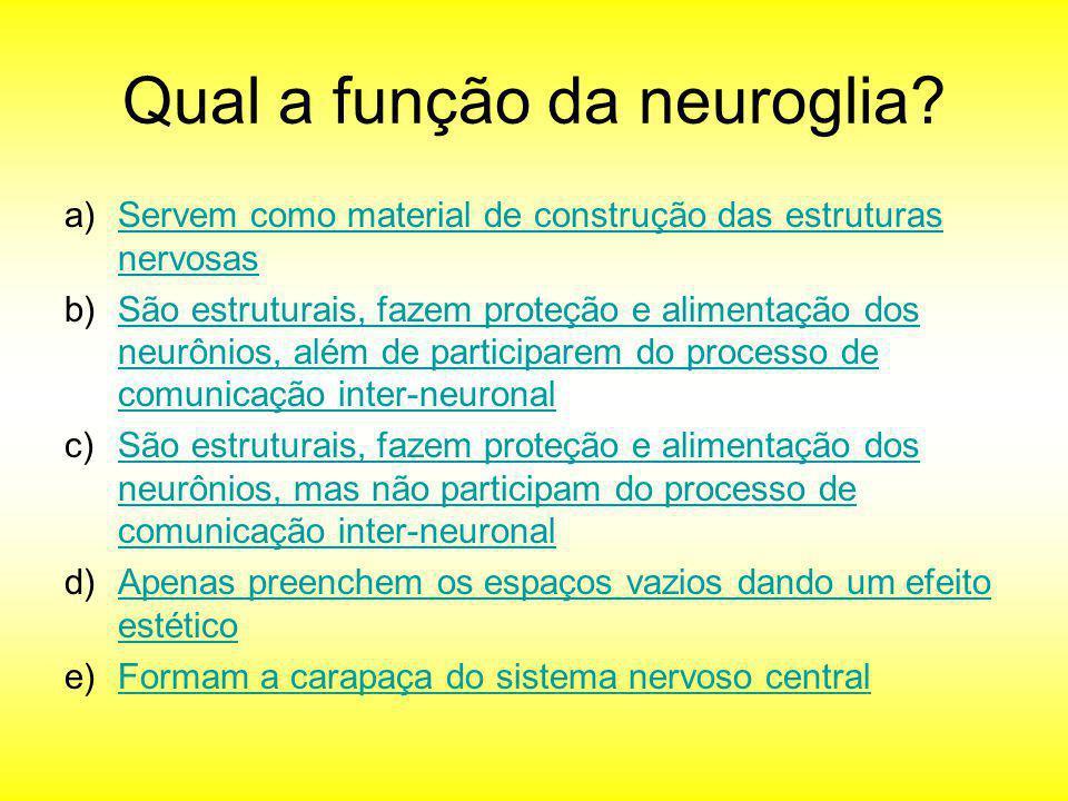 Qual a função da neuroglia? a)Servem como material de construção das estruturas nervosasServem como material de construção das estruturas nervosas b)S