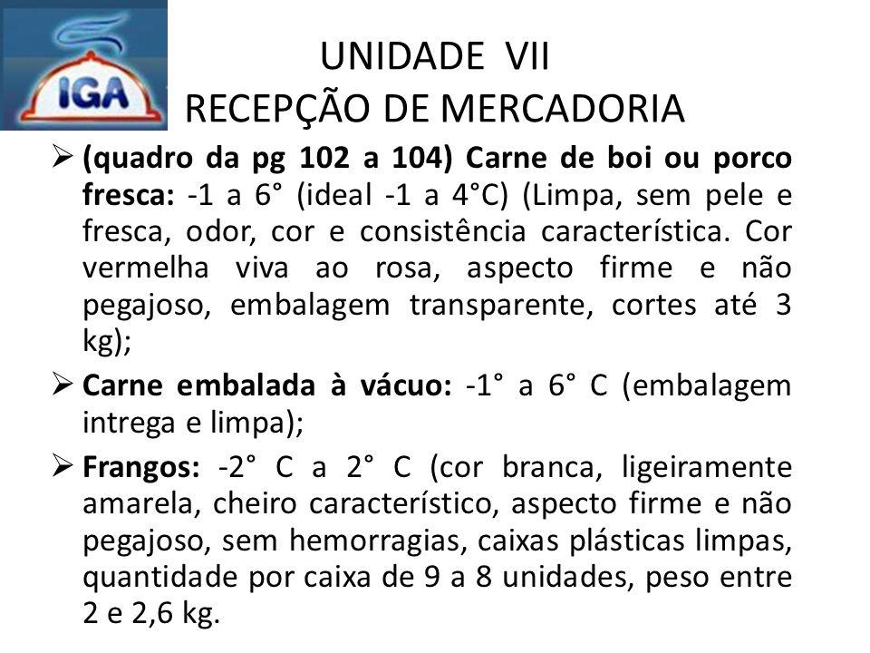 UNIDADE VII RECEPÇÃO DE MERCADORIA  (quadro da pg 102 a 104) Carne de boi ou porco fresca: -1 a 6° (ideal -1 a 4°C) (Limpa, sem pele e fresca, odor,