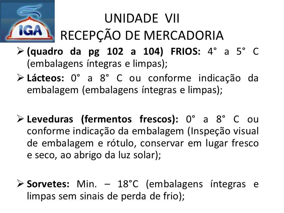 UNIDADE VII RECEPÇÃO DE MERCADORIA  (quadro da pg 102 a 104) FRIOS: 4° a 5° C (embalagens íntegras e limpas);  Lácteos: 0° a 8° C ou conforme indica