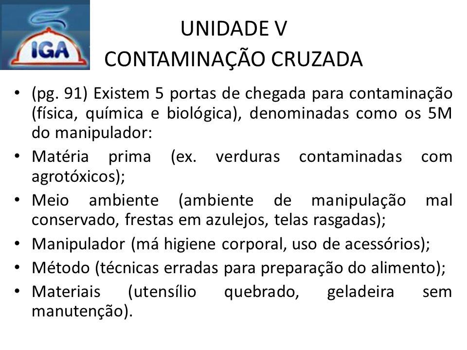 UNIDADE V CONTAMINAÇÃO CRUZADA (pg. 91) Existem 5 portas de chegada para contaminação (física, química e biológica), denominadas como os 5M do manipul