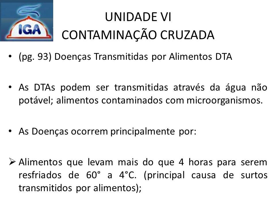 UNIDADE VI CONTAMINAÇÃO CRUZADA (pg. 93) Doenças Transmitidas por Alimentos DTA As DTAs podem ser transmitidas através da água não potável; alimentos