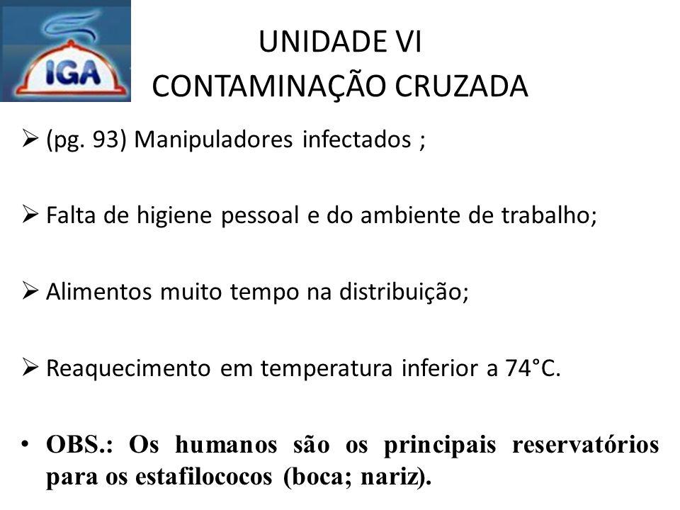 UNIDADE VI CONTAMINAÇÃO CRUZADA  (pg. 93) Manipuladores infectados ;  Falta de higiene pessoal e do ambiente de trabalho;  Alimentos muito tempo na
