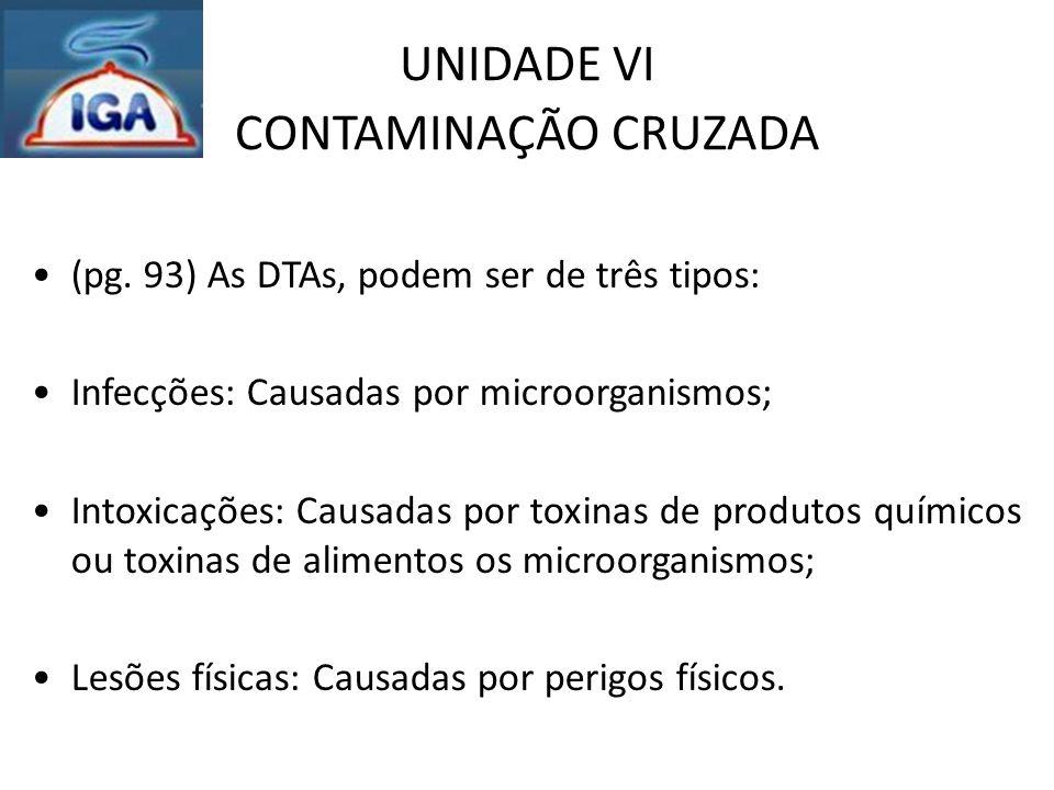 UNIDADE VI CONTAMINAÇÃO CRUZADA (pg. 93) As DTAs, podem ser de três tipos: Infecções: Causadas por microorganismos; Intoxicações: Causadas por toxinas
