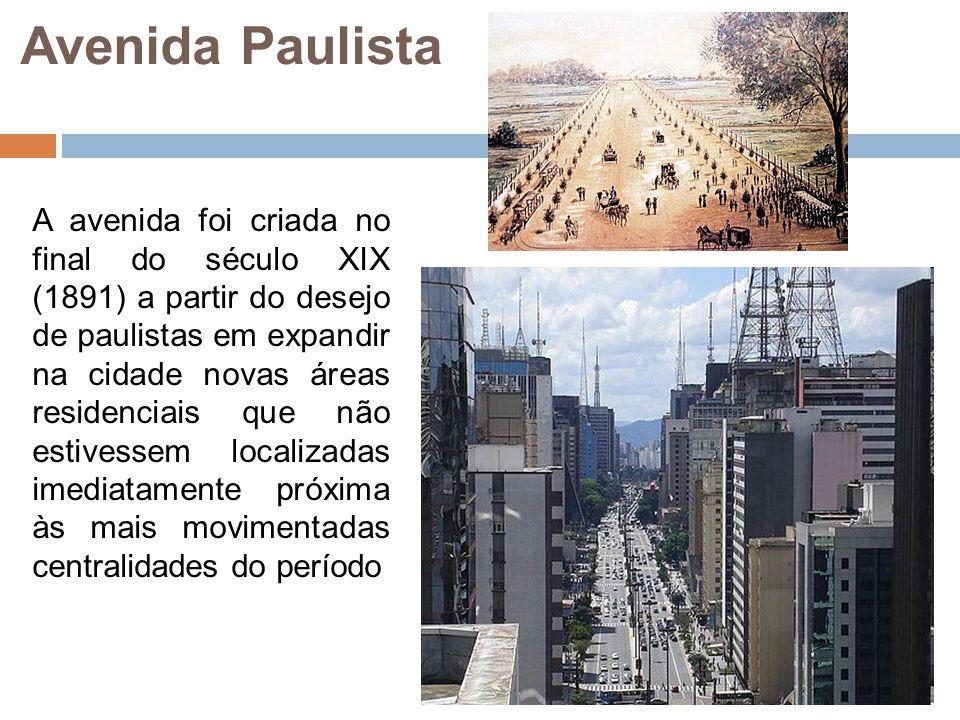 A avenida foi criada no final do século XIX (1891) a partir do desejo de paulistas em expandir na cidade novas áreas residenciais que não estivessem l