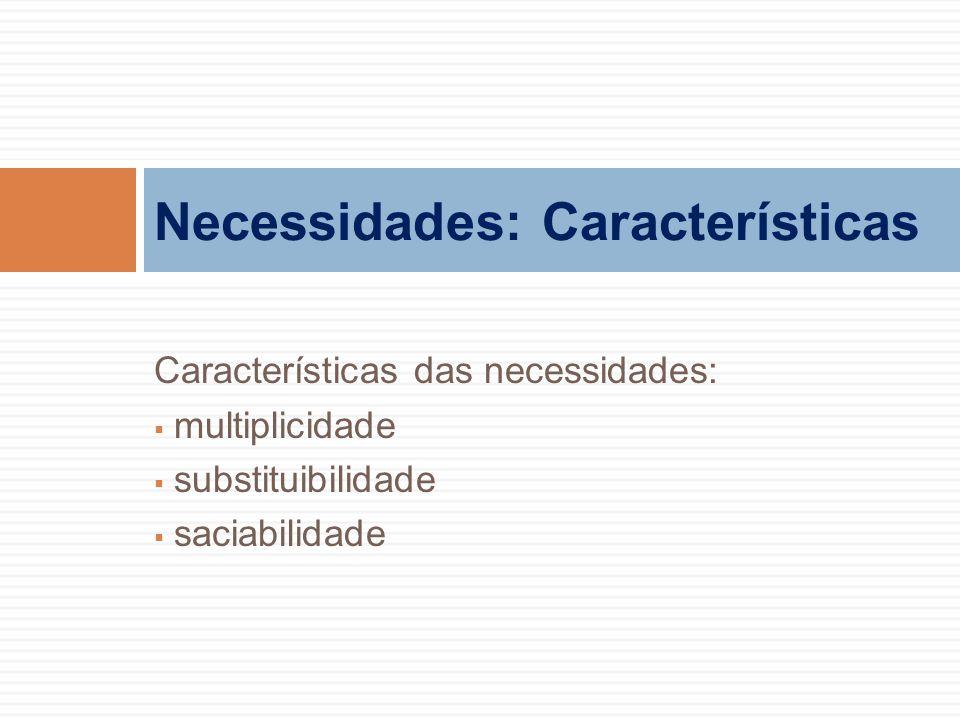 Características das necessidades:  multiplicidade  substituibilidade  saciabilidade Necessidades: Características
