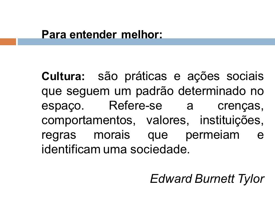 Para entender melhor: Cultura: são práticas e ações sociais que seguem um padrão determinado no espaço. Refere-se a crenças, comportamentos, valores,