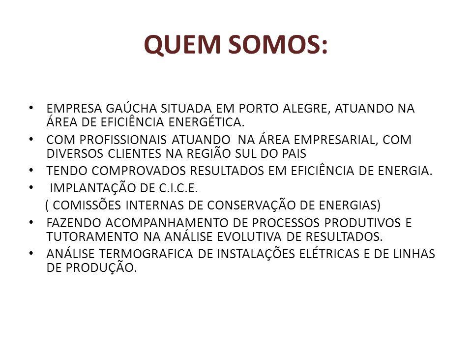 Beneficios DA ANÁLISE DE PERFIL DE CONSUMO ENERGÉTICO - Redução do custo da energia e do consumo da energia na produção; - Diminuição do impacto dos reajustes tarifários; - Aumento da confiabilidade do sistema produtivo; - Redução do impacto energético ambiental ; - Orientação quanto ao sistema de medição mais adquado;