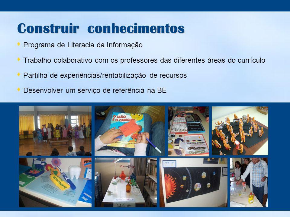 Construir conhecimentos  Programa de Literacia da Informação  Trabalho colaborativo com os professores das diferentes áreas do currículo  Partilha de experiências/rentabilização de recursos  Desenvolver um serviço de referência na BE
