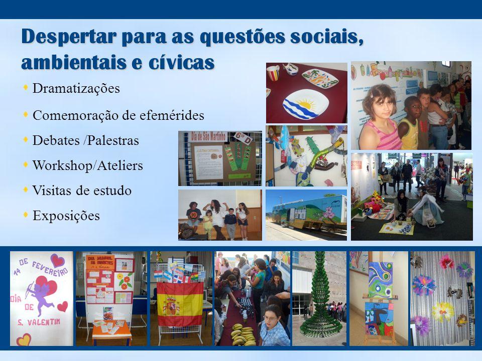 Despertar para as questões sociais, ambientais e cívicas  Dramatizações  Comemoração de efemérides  Debates /Palestras  Workshop/Ateliers  Visitas de estudo  Exposições